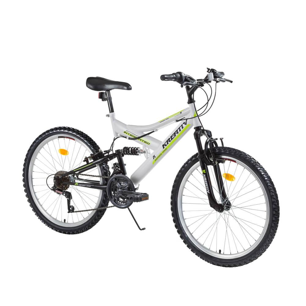 """Juniorský celoodpružený bicykel Kreativ 2441 24"""" - model 2017 White - Záruka 10 rokov"""
