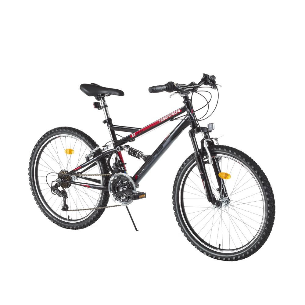 """Juniorský celoodpružený bicykel DHS 2445 24"""" - model 2017 Black - Záruka 10 rokov"""