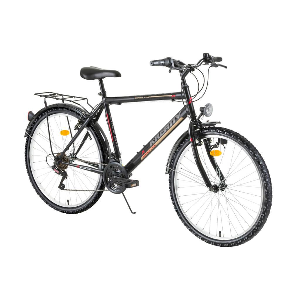 "Trekingový bicykel Kreativ 2613 26"" - model 2017 Black - Záruka 10 rokov"