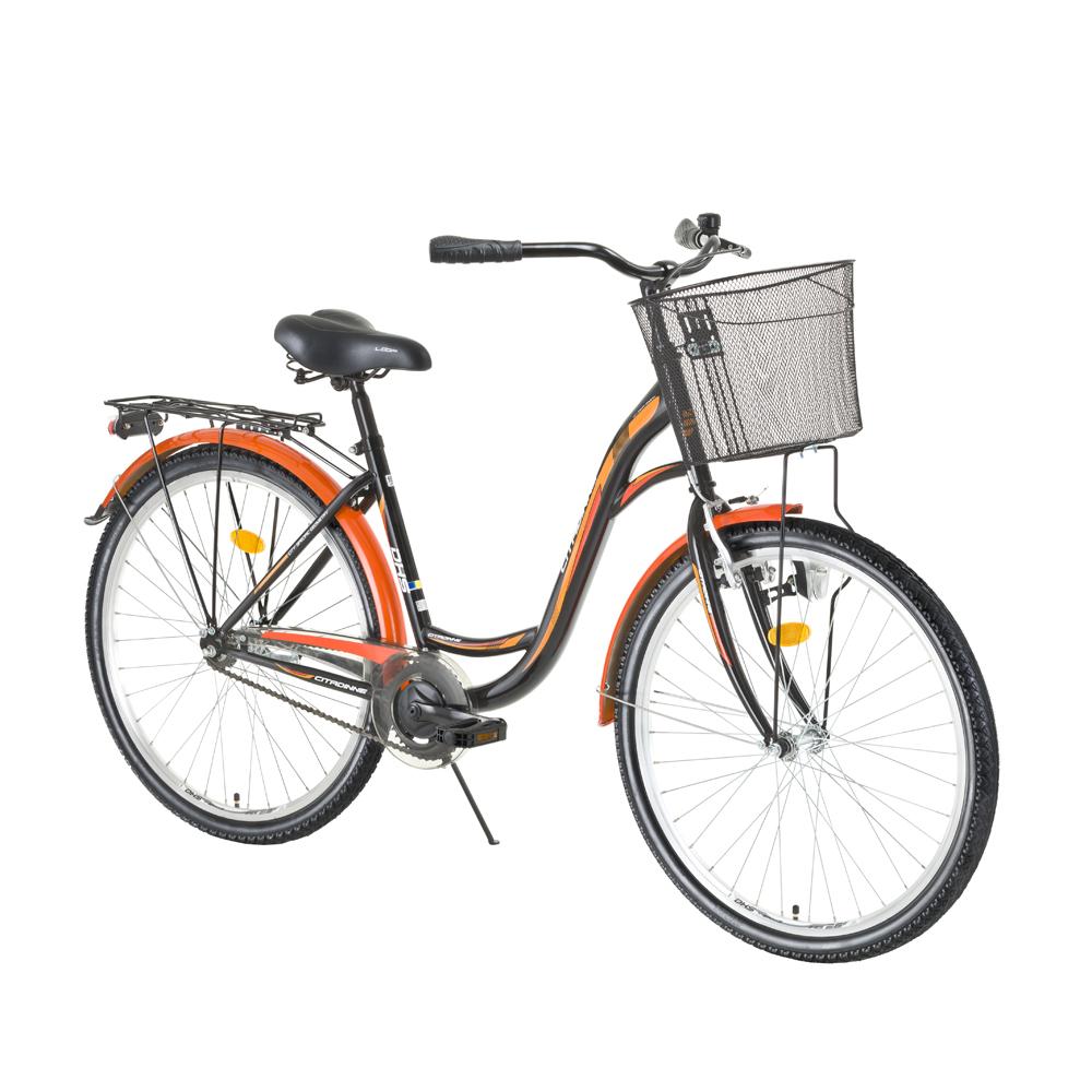 """Mestský bicykel DHS Citadinne 2632 26"""" - model 2016 Black-White-Yellow - 19"""" - Záruka 10 rokov"""