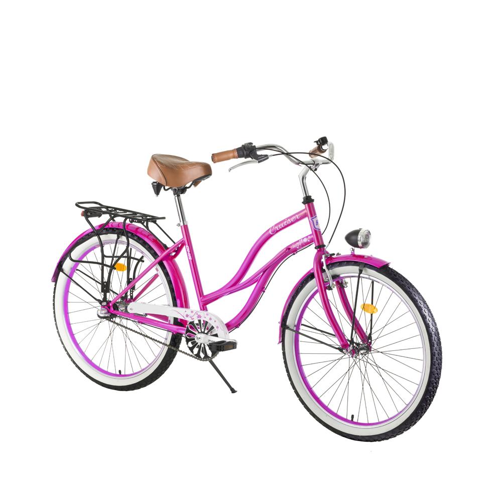 """Dámsky mestský bicykel DHS Cruiser 2696 26"""" - model 2017 Pink - 19,5"""" - Záruka 10 rokov"""