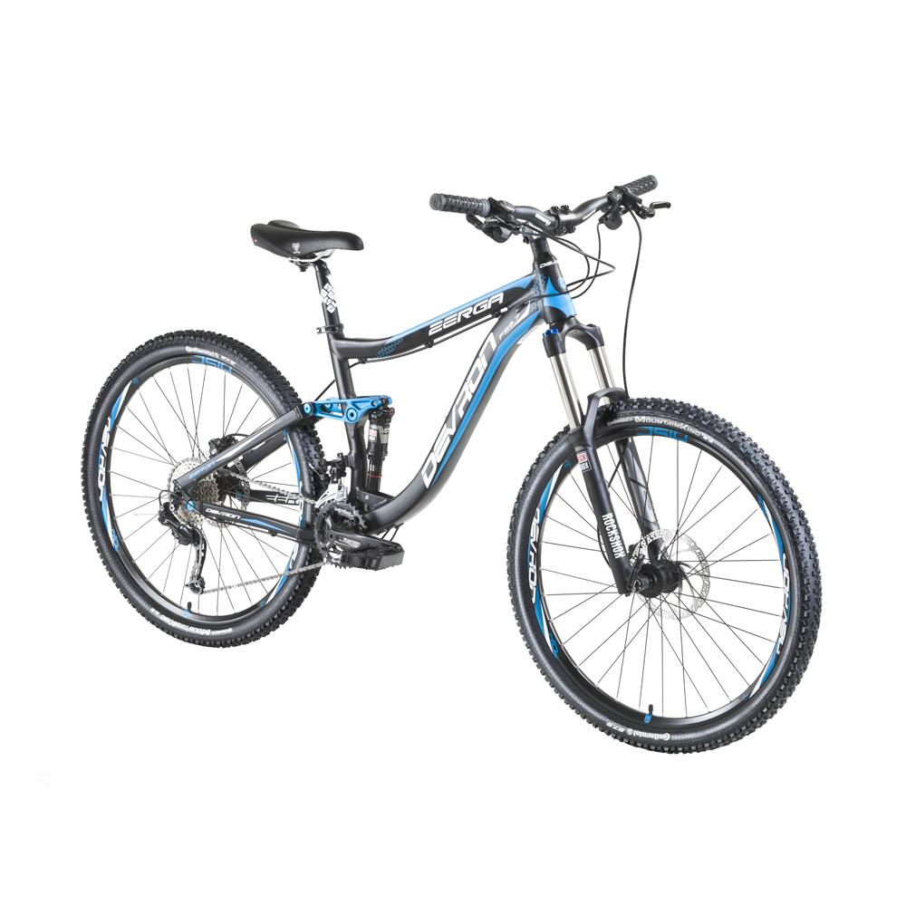 "Horský celoodpružený bicykel Devron Zerga FS6.7 27,5"" - model 2016 Black-Blue - 17"" - Záruka 10 rokov"