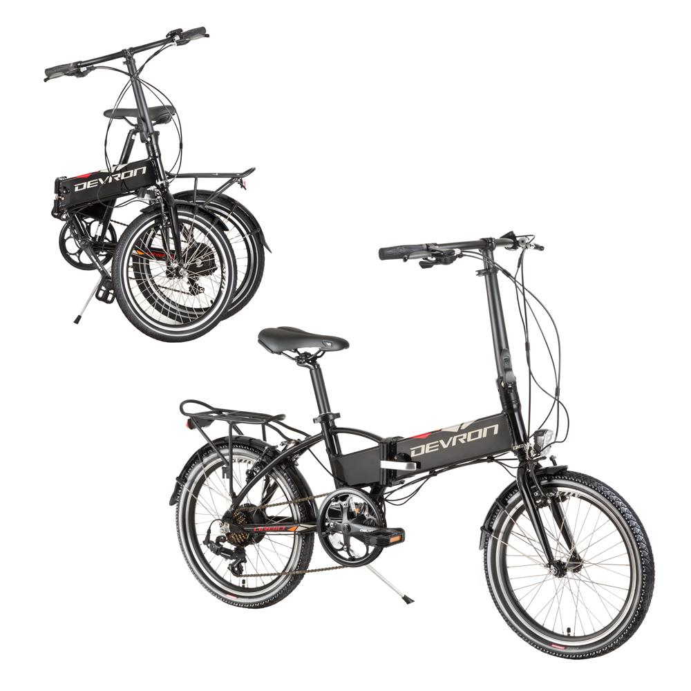 """Skladací elektrobicykel Devron 20124 20"""" - model 2017 čierna - Záruka 10 rokov"""