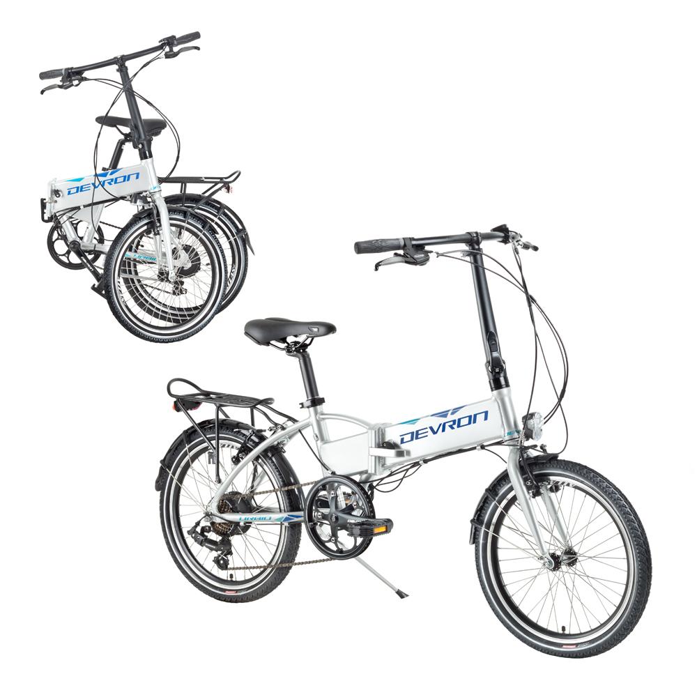 """Skladací elektrobicykel Devron 20124 20"""" - model 2017 šedá - Záruka 10 rokov"""