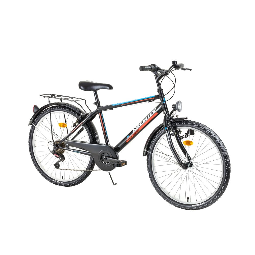 "Juniorský bicykel Kreativ 2413 24"" - model 2017 Black-Orange - Záruka 10 rokov"