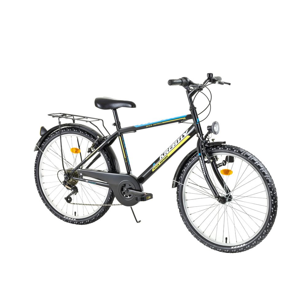 "Juniorský bicykel Kreativ 2413 24"" - model 2017 Black-Green - Záruka 10 rokov"