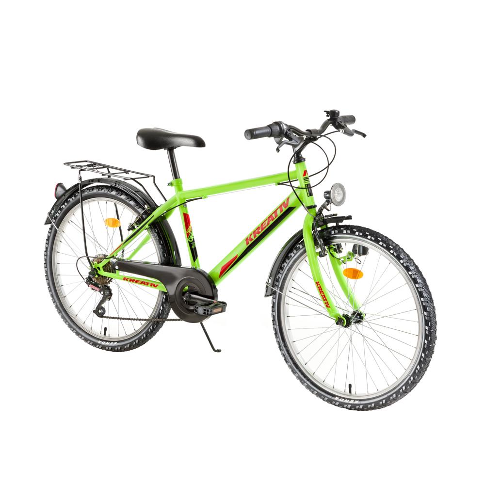 "Juniorský bicykel Kreativ 2413 24"" - model 2018 Yellow Neon - Záruka 10 rokov"