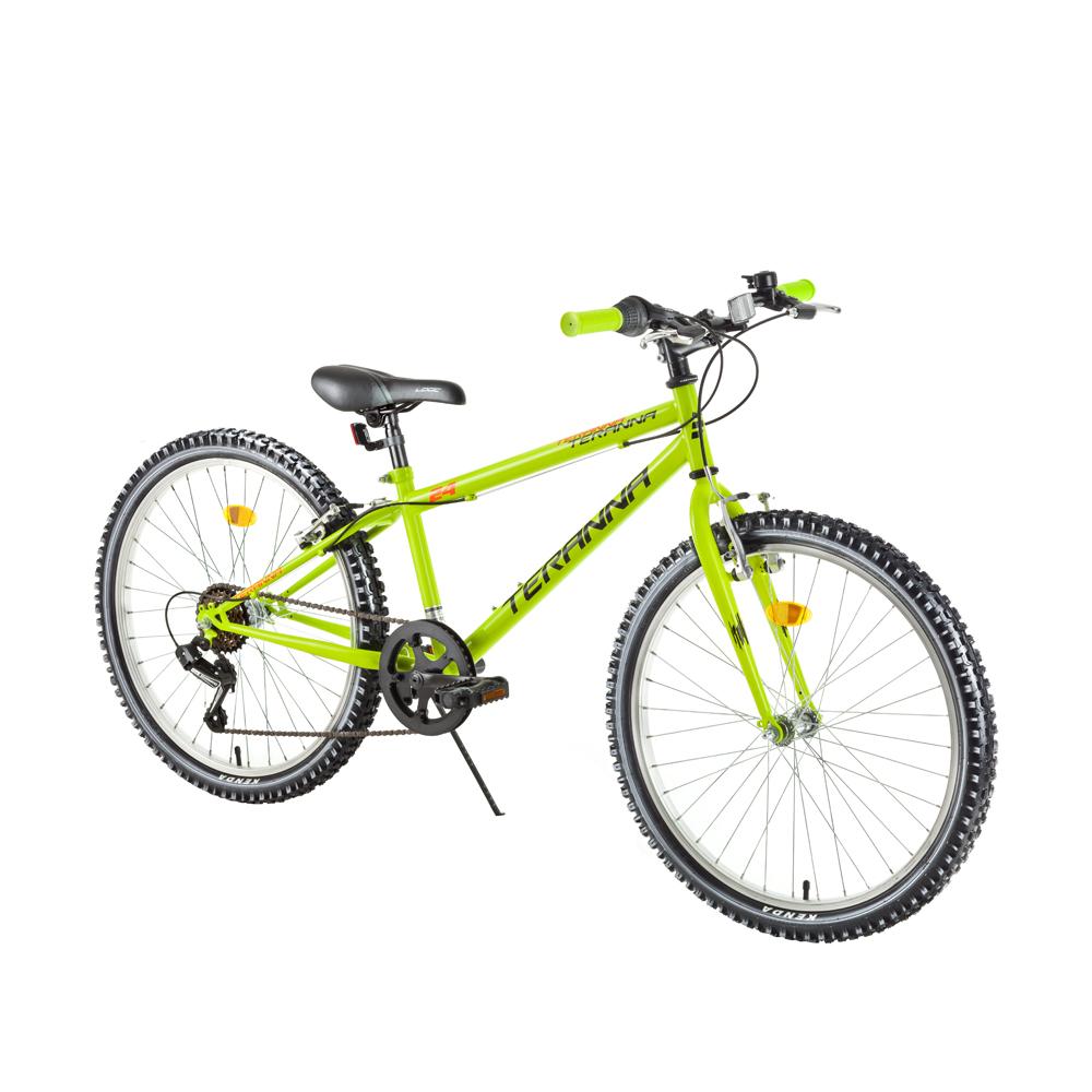 "Juniorský bicykel DHS Teranna 2421 24"" - model 2018 Light Green - Záruka 10 rokov"