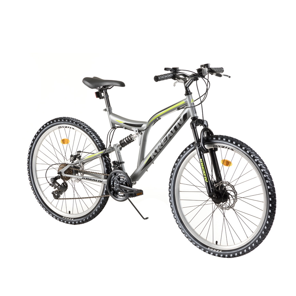 "Celoodpružený bicykel Kreativ 2643 26"" - model 2018 Grey - Záruka 10 rokov"