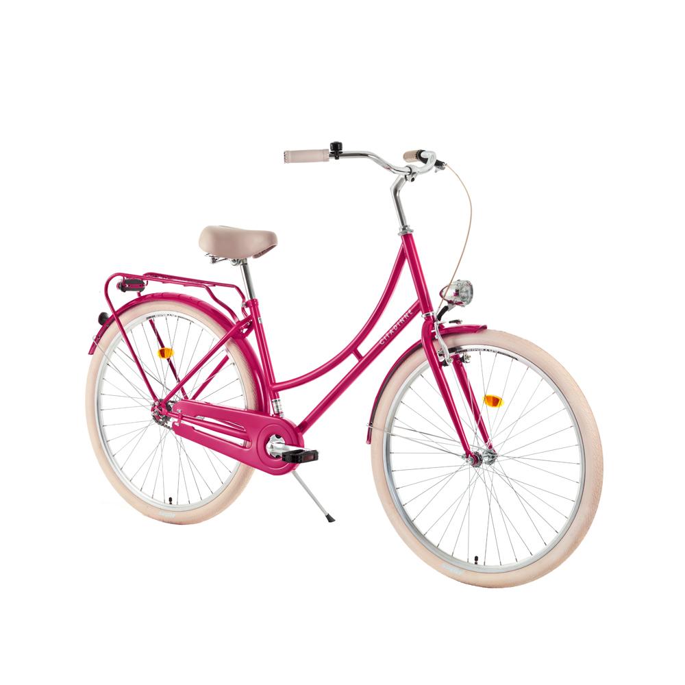 "Mestský bicykel DHS Citadinne 2832 28"" - model 2018 Dark Pink - 17,5"" - Záruka 10 rokov"