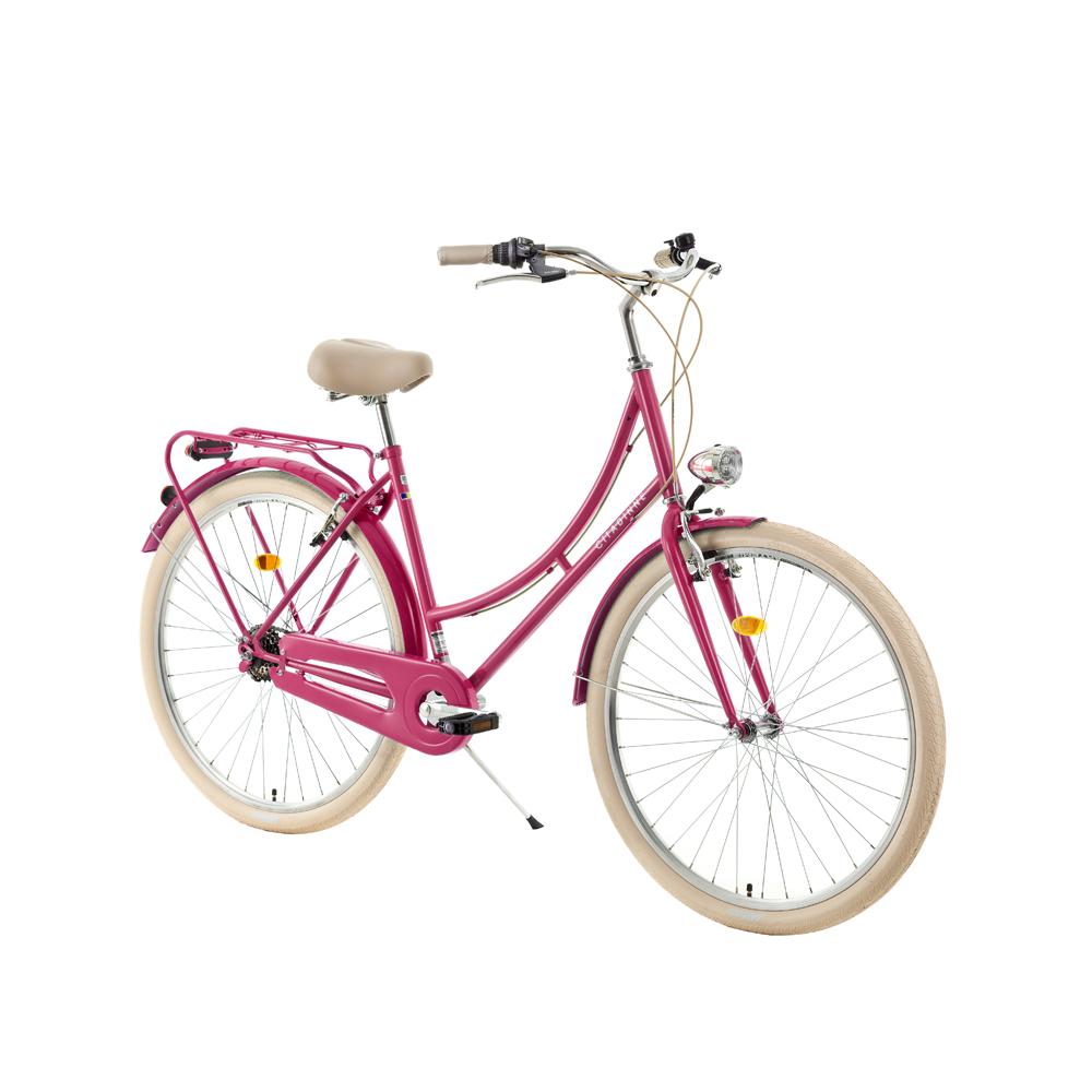 "Mestský bicykel DHS Citadinne 2636 26"" - model 2018 Dark Pink - 18"" - Záruka 10 rokov"