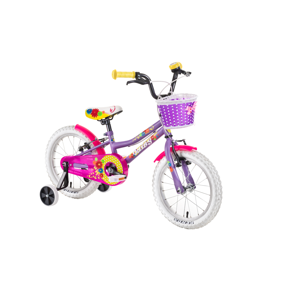 "Detský bicykel DHS Daisy 1404 14"" - model 2019 Purple - Záruka 10 rokov"