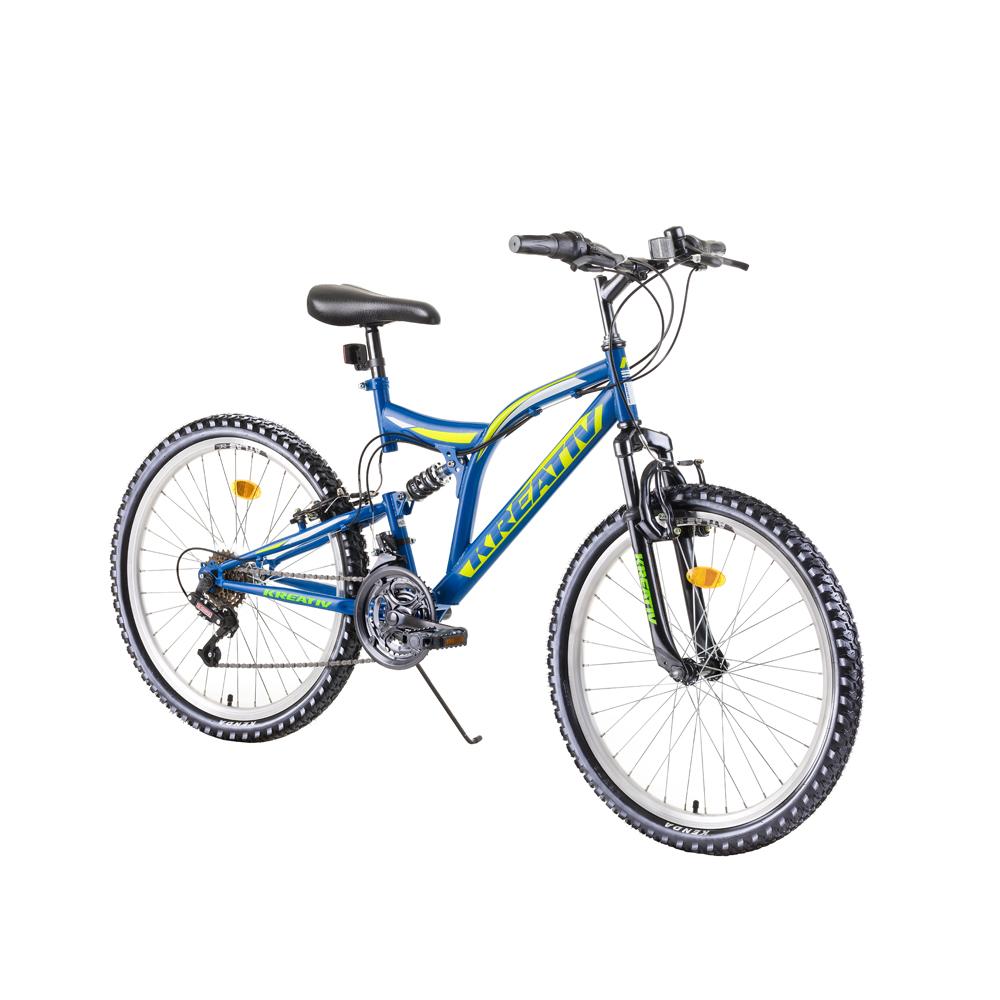 """Juniorský celoodpružený bicykel Kreativ 2441 24"""" - model 2019 blue - Záruka 10 rokov"""