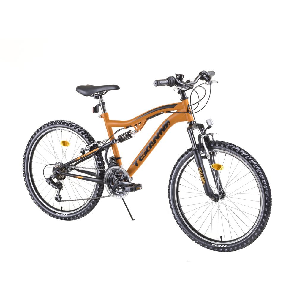 "Juniorský celoodpružený bicykel DHS 2445 24"" - model 2019 Orange - Záruka 10 rokov"