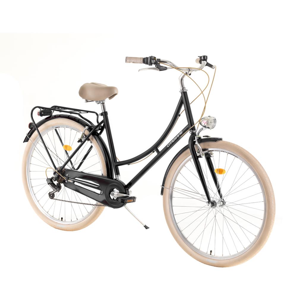 "Mestský bicykel DHS Citadinne 2834 28"" - model 2019 Black - 20"" - Záruka 10 rokov"
