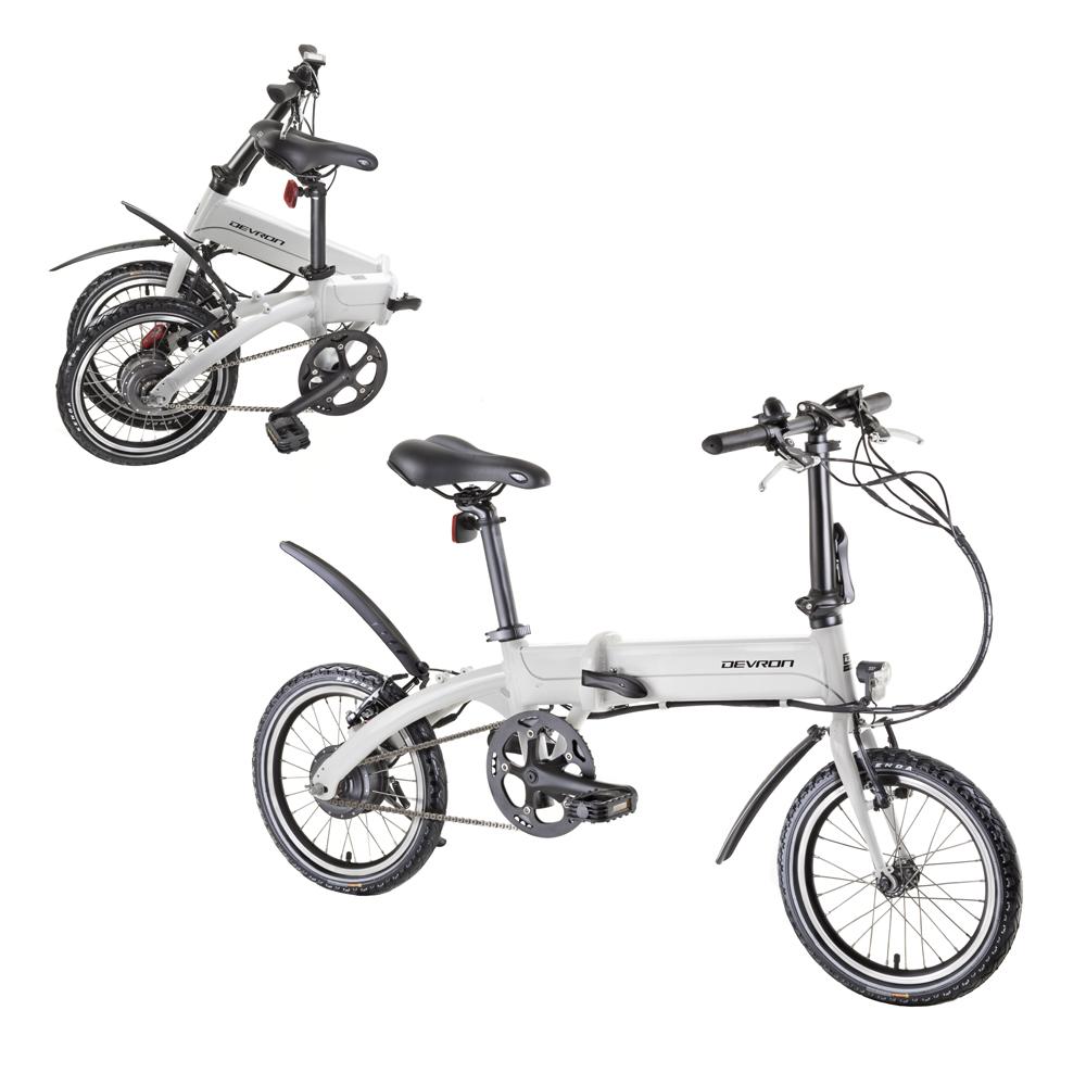 "Skládací elektrobicykel Devron 16201 16"" - model 2020 biela - Záruka 10 rokov"