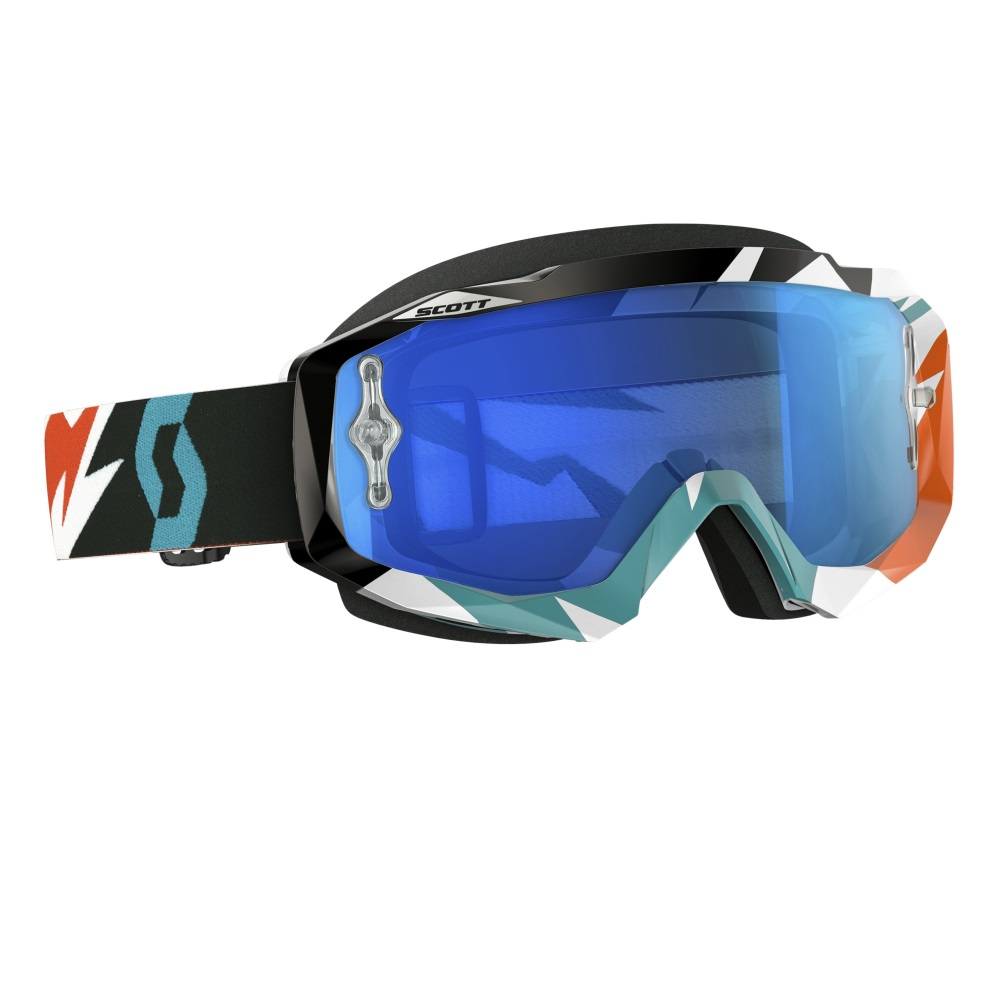 Moto okuliare SCOTT Hustle MXVI cracked orange-turquoise-electric blue chrome