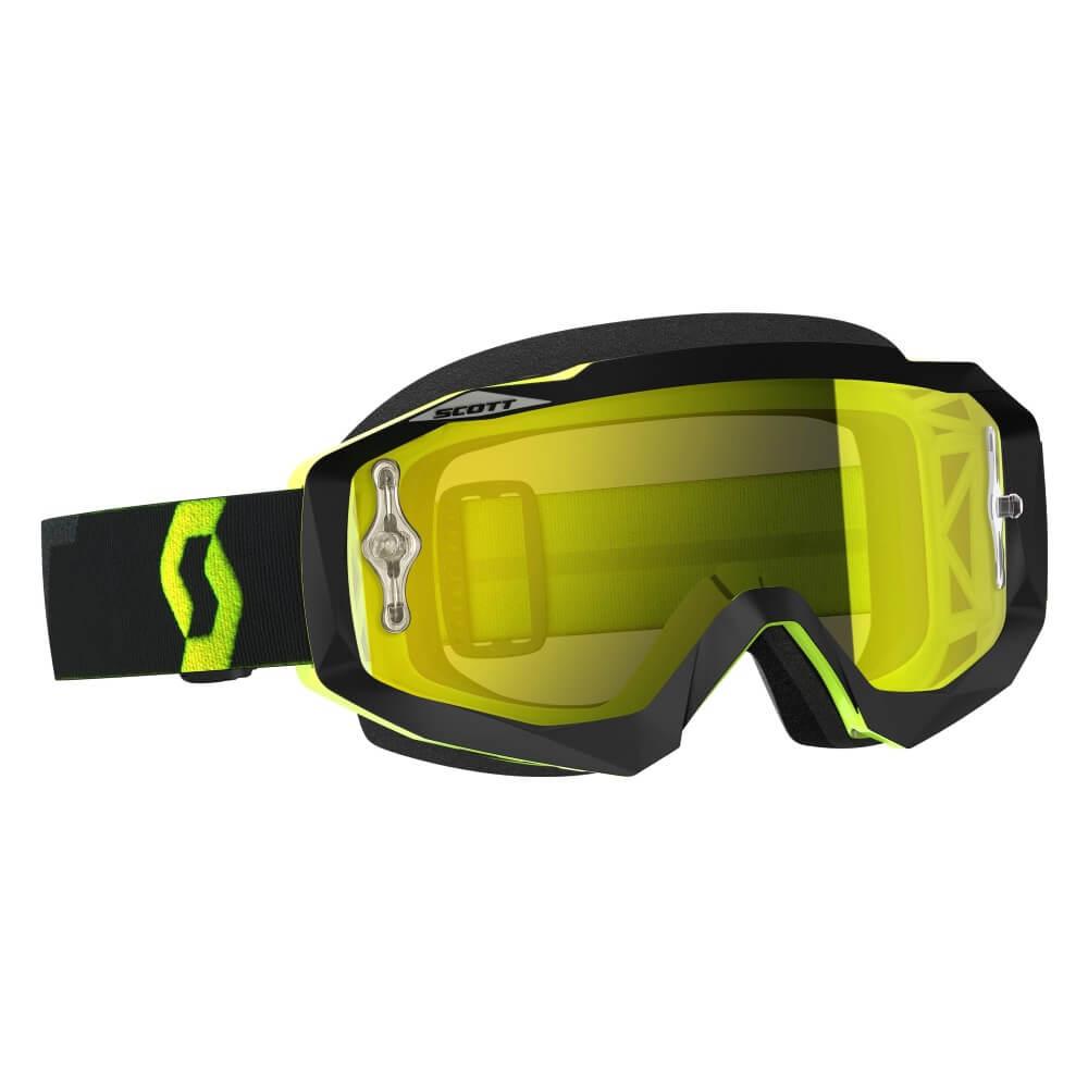 Moto okuliare SCOTT Hustle MX CH MXVII black-fluo yellow-yellow chrome
