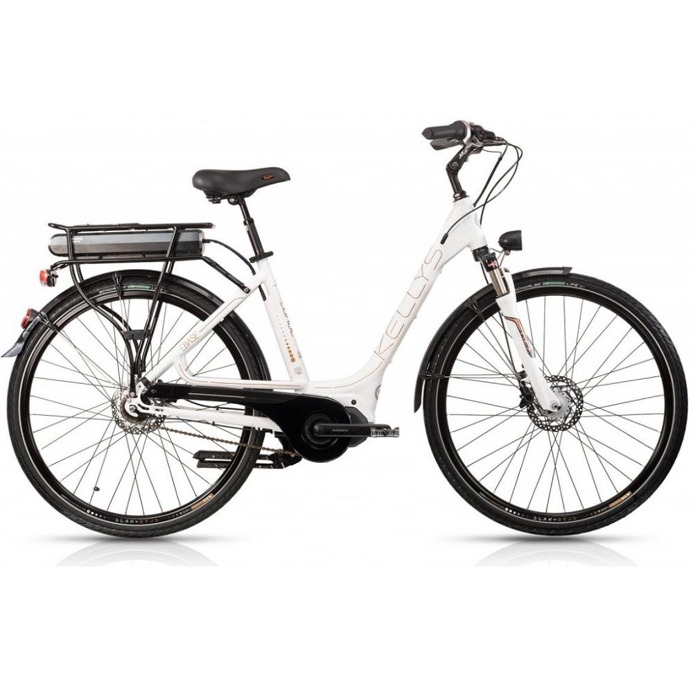 """Mestský elektrobicykel Kellys Ebase 28"""" - model 2018 White - 450 mm (17,5"""") - Záruka 10 rokov"""