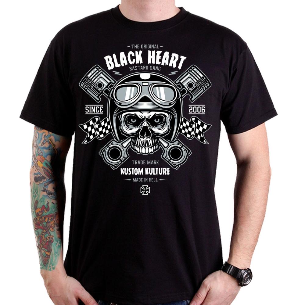 Tričko BLACK HEART Piston Skull čierna - L