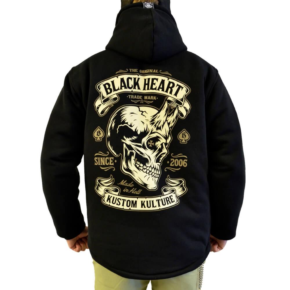Mikina zateplená BLACK HEART Devil Skull Lined čierna - M
