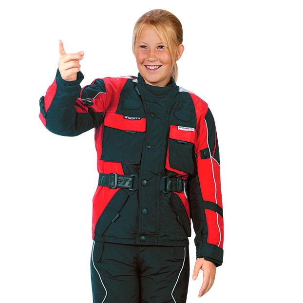 Detská moto bunda ROLEFF Kids červeno-čierna - S