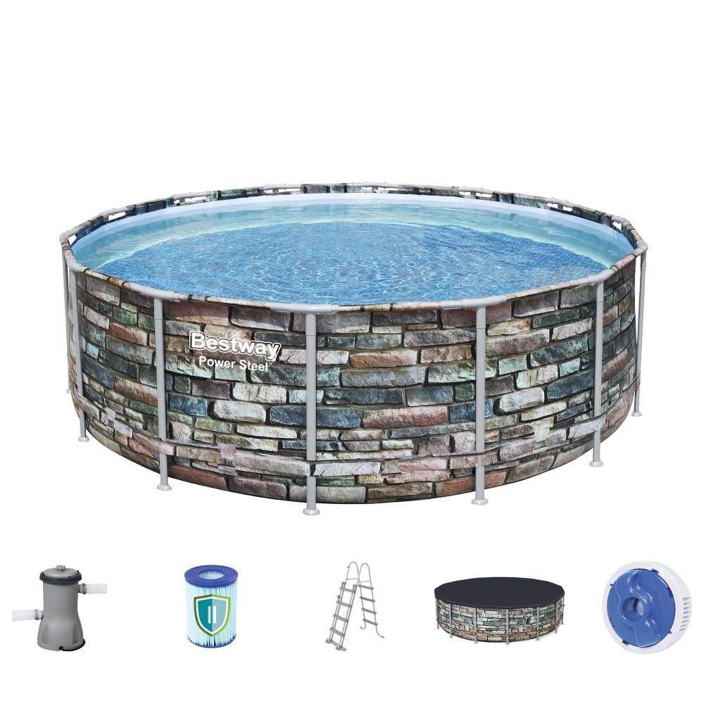 Bazén Bestway Power Steel Stone 427 x 122 cm s filtráciou