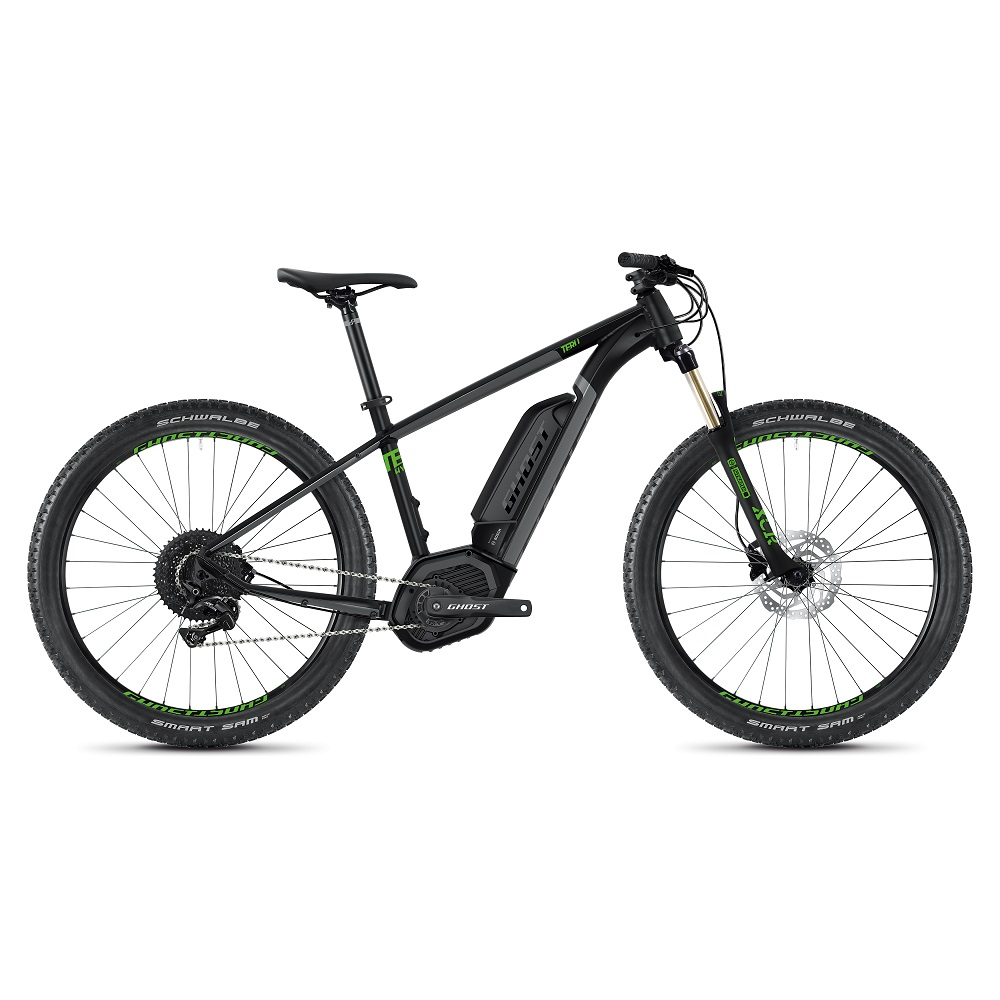 "Horský elektrobicykel Ghost Teru B4.7+ 27,5"" - model 2020 Jet Black / Urban Gray / Riot Green - M (16,5"") - Záruka 10 rokov"