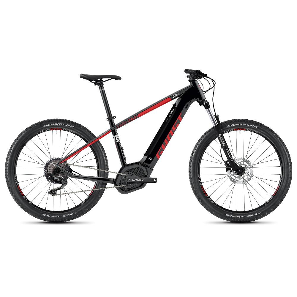 "Horský elektrobicykel Ghost Teru PT B3.7+ 27,5"" - model 2020 Jet Black / Riot Red / Urban Grey - XL (19,5"") - Záruka 10 rokov"