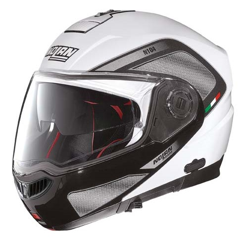 Moto prilba Nolan N104 Absolute Tech N-Com Metal White - 2XL (63-64)