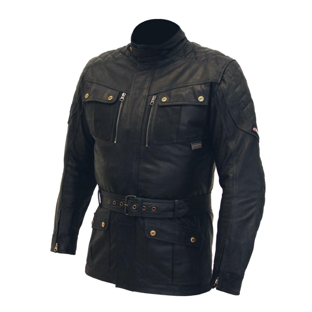 Pánska kožená moto bunda SPARK Romp čierna - L