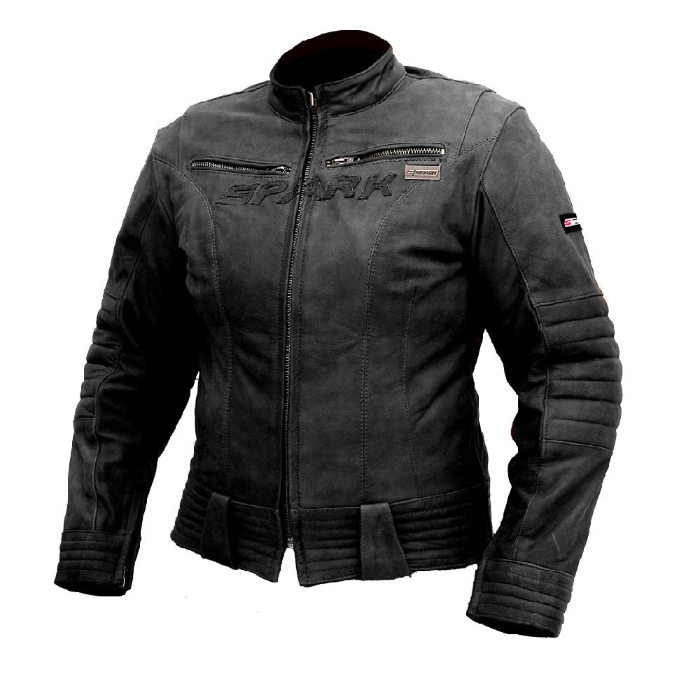 Dámska kožená moto bunda SPARK Betty čierna - S