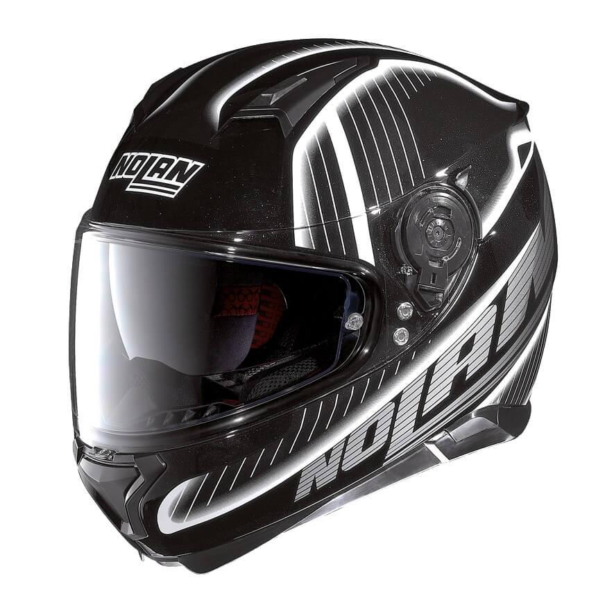 Moto helma Nolan N87 Harp N-Com Flat Black-White