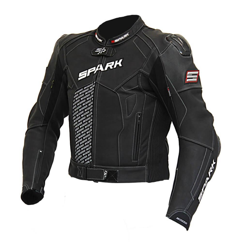 Pánska kožená moto bunda Spark ProComp čierna - S