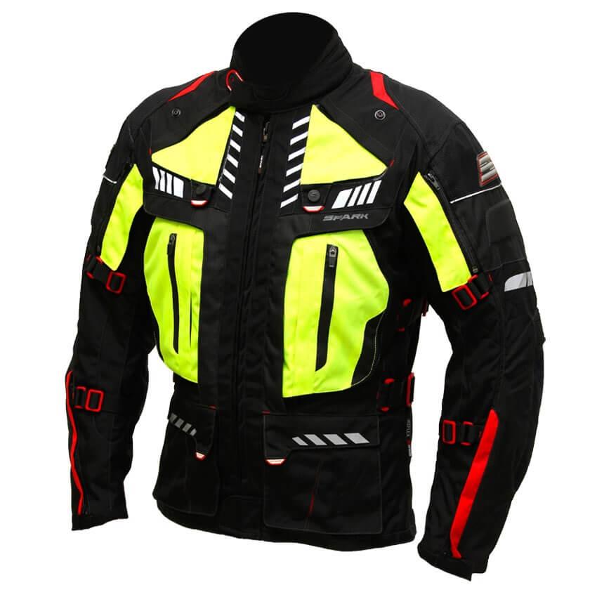 Pánska textilná moto bunda Spark Expedition čierna-fluo žltá - 6XL