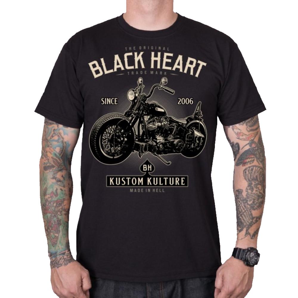 Tričko BLACK HEART Motorcycle čierna - L