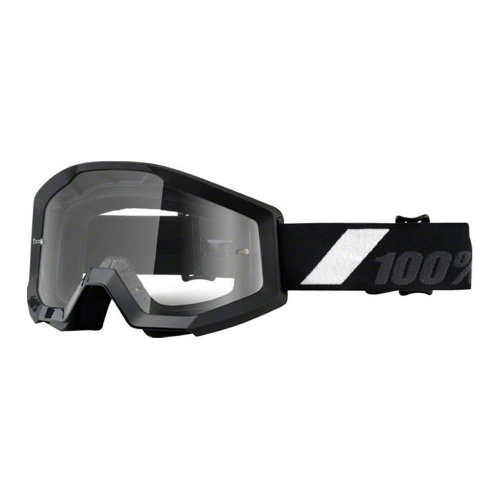 Motokrosové okuliare 100% Strata Goliath čierna, čire plexi s čapmi pre trhačky