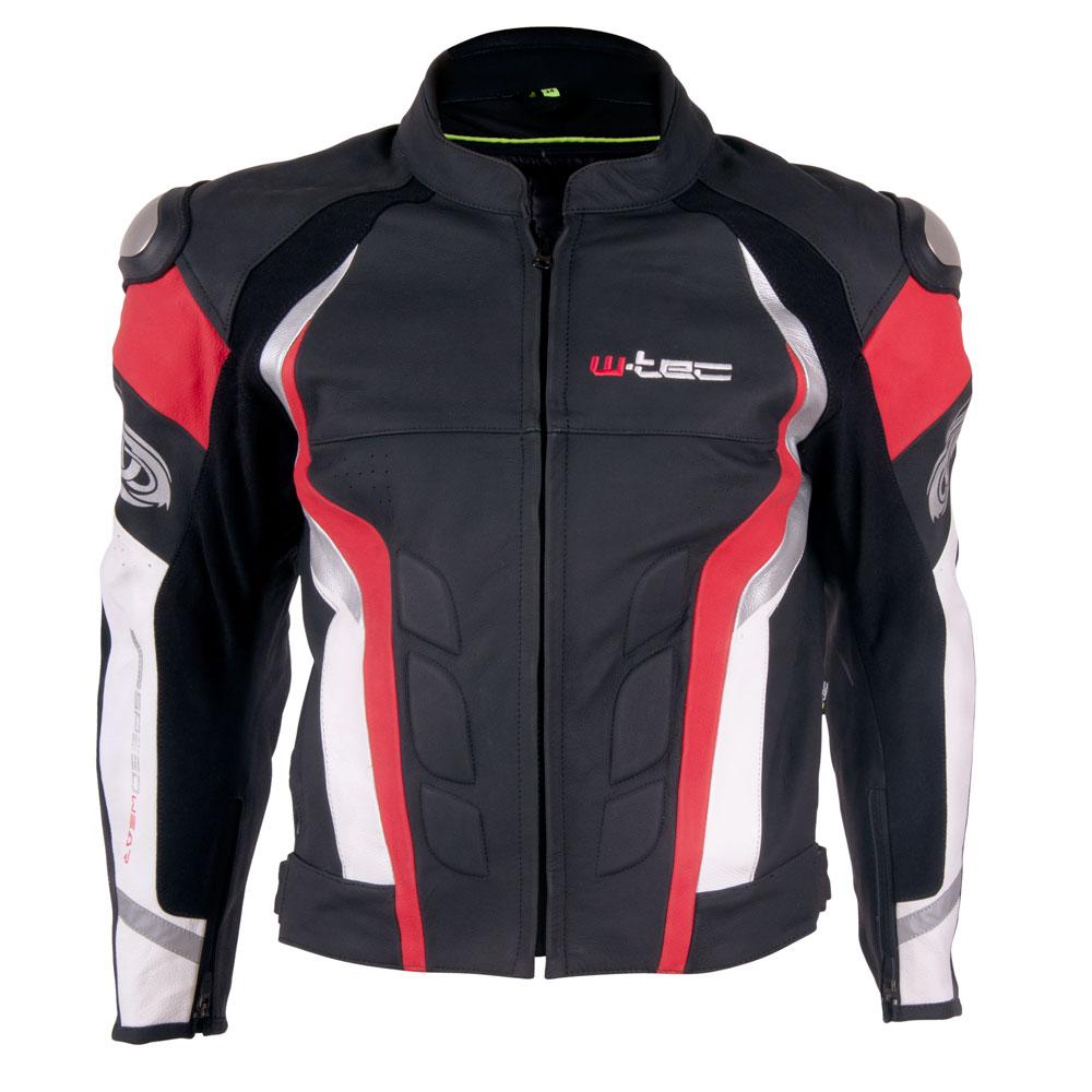 Pánska kožená moto bunda W-TEC Velocity čierno-červená - S
