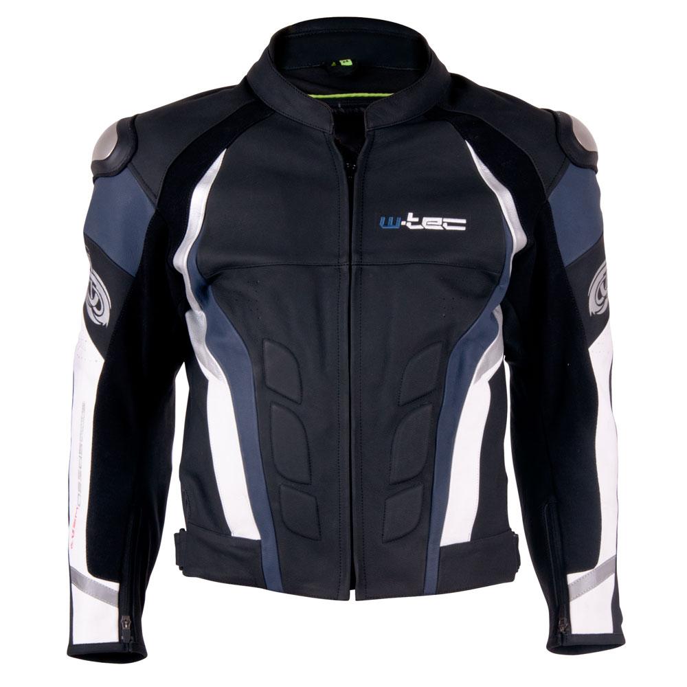 Pánska kožená moto bunda W-TEC Velocity čierno-modrá - L