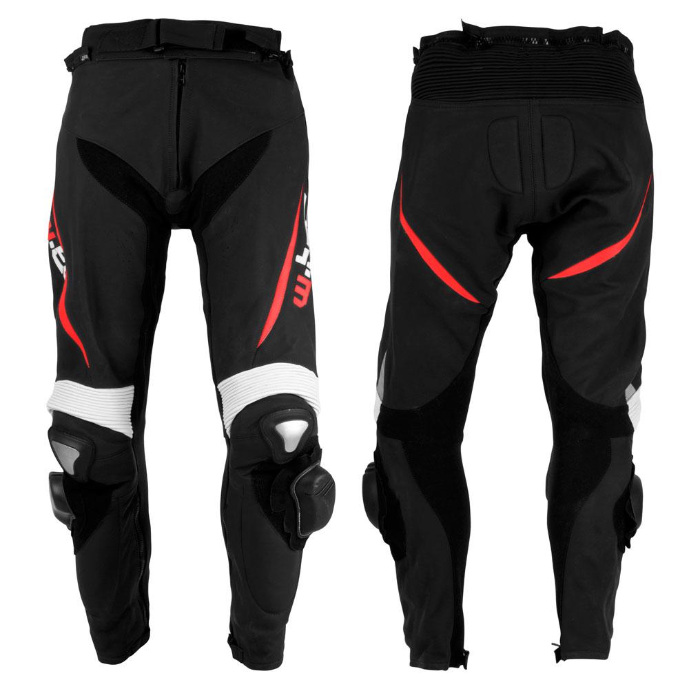Pánske kožené moto nohavice W-TEC Vector čierno-červená - S