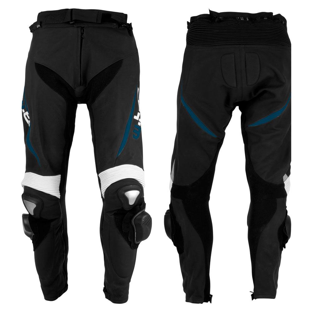 Pánske kožené moto nohavice W-TEC Vector čierno-modrá - M