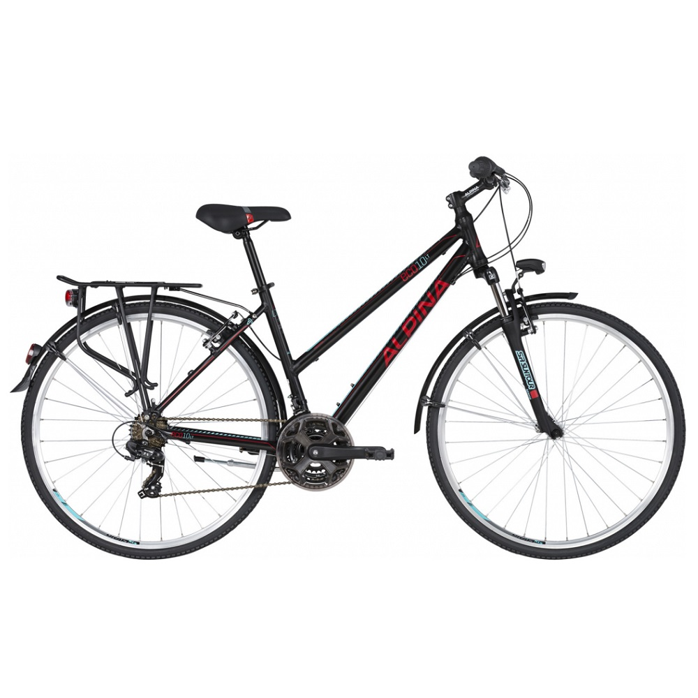 "Dámsky trekingový bicykel ALPINA ECO LT10 28"" - model 2020 Black - S (16.5"") - Záruka 10 rokov"