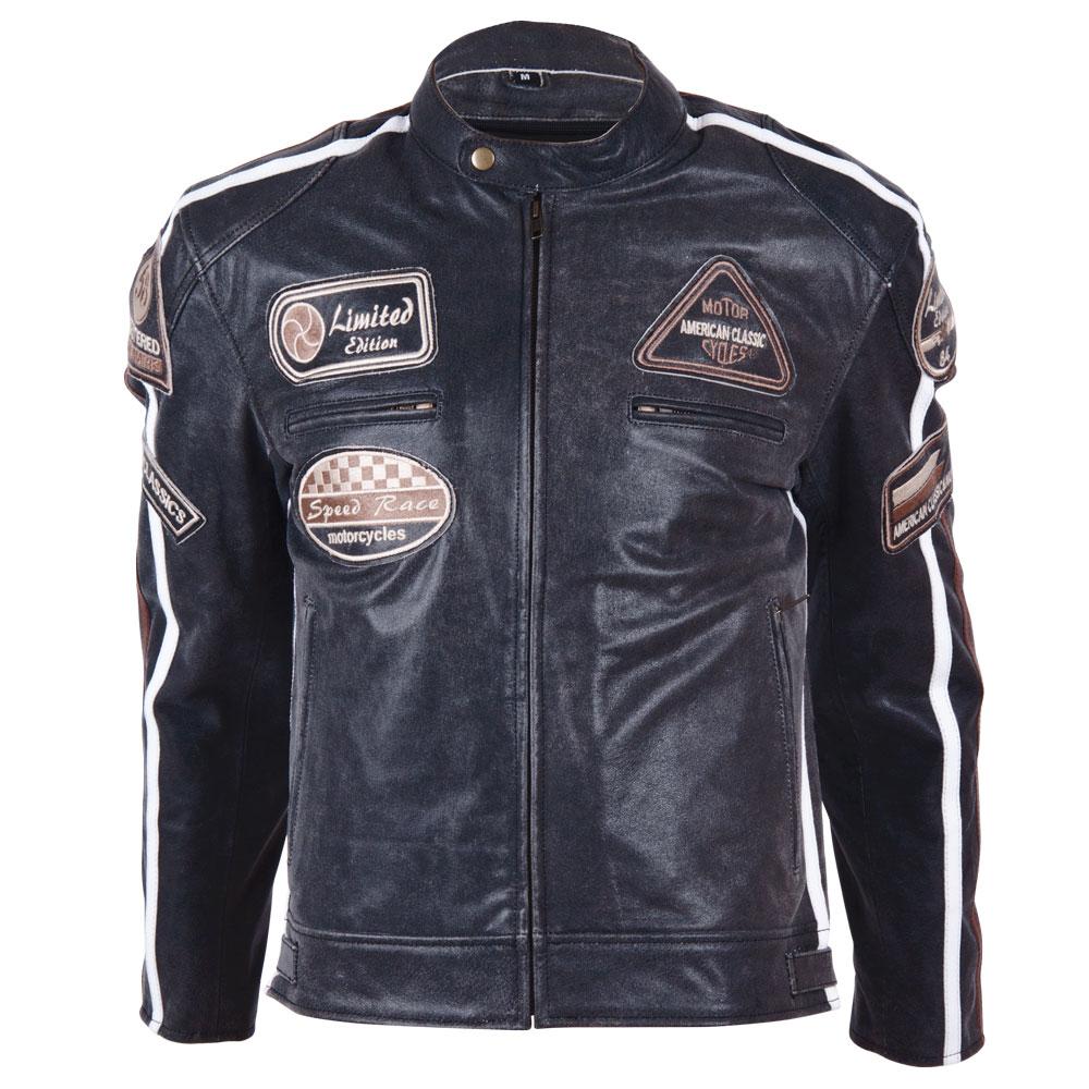 Kožená moto bunda BOS 2058 čierna čierna - 5XL