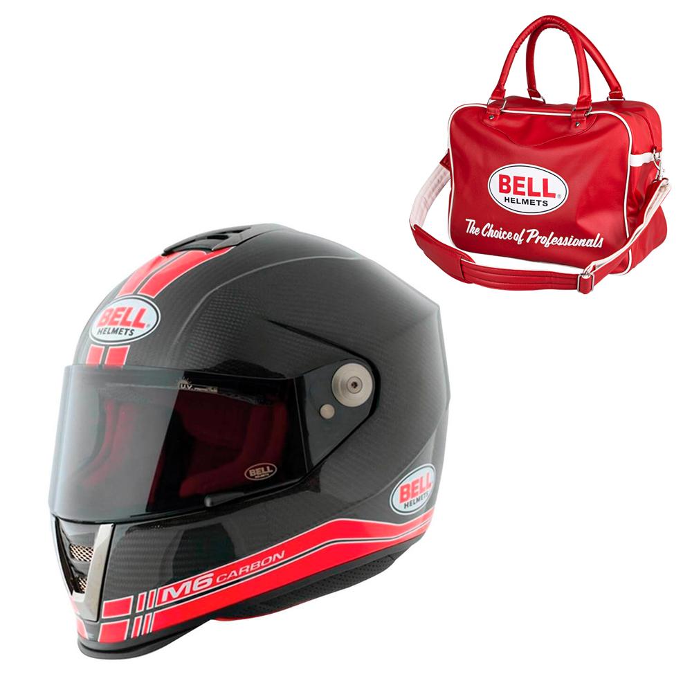 Moto prilba BELL M6 Carbon Race Red