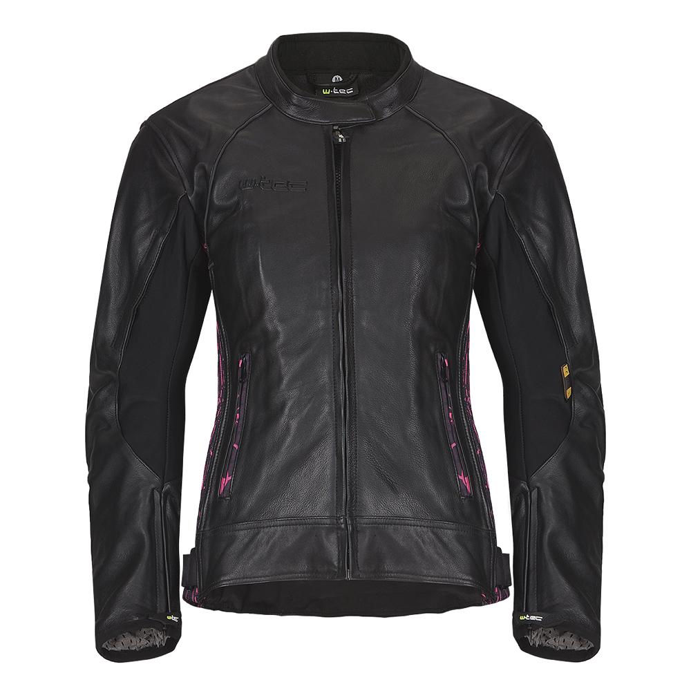 Dámska kožená moto bunda W-TEC Caronina NF-1174 čierno-ružová - S