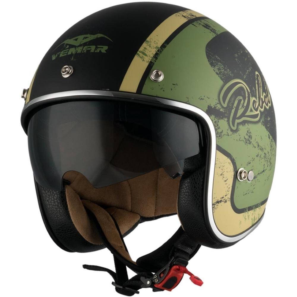 Moto prilba Vemar Chopper Rebel čierna matná/zelená/krémová - XS (53-54)