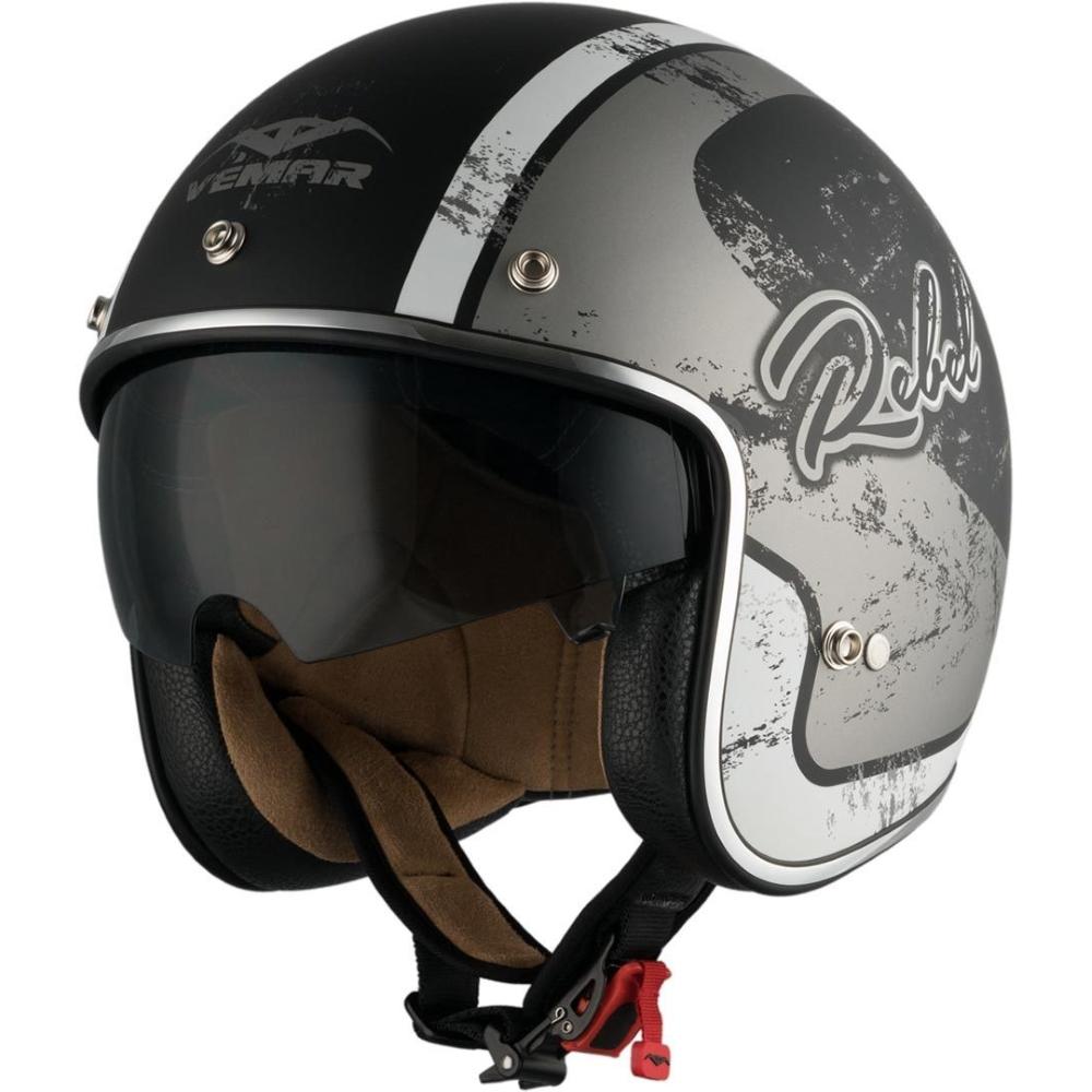 Moto prilba Vemar Chopper Rebel čierna matná/biela/strieborná - XS (53-54)
