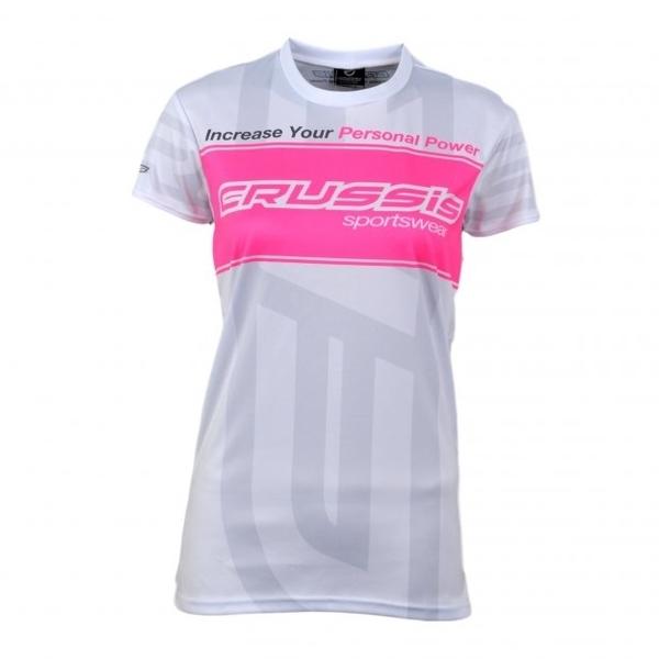 Dámske tričko s krátkym rukávom CRUSSIS biele bielo-ružová - L