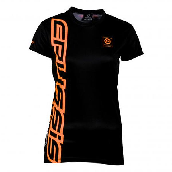 Dámske tričko s krátkym rukávom CRUSSIS čierno-oranžová čierno-oranžová - S