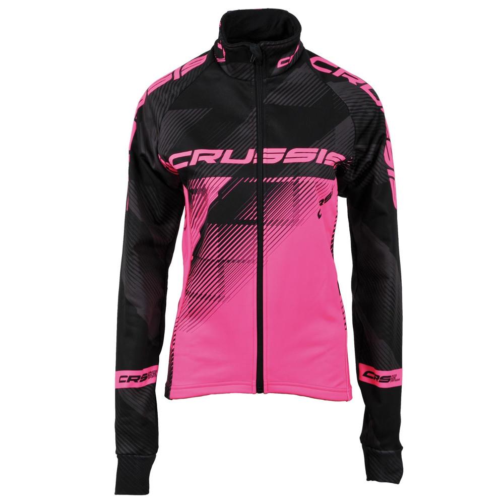Dámská cyklistická bunda CRUSSIS čierna-fluo ružová čierno-ružová - L